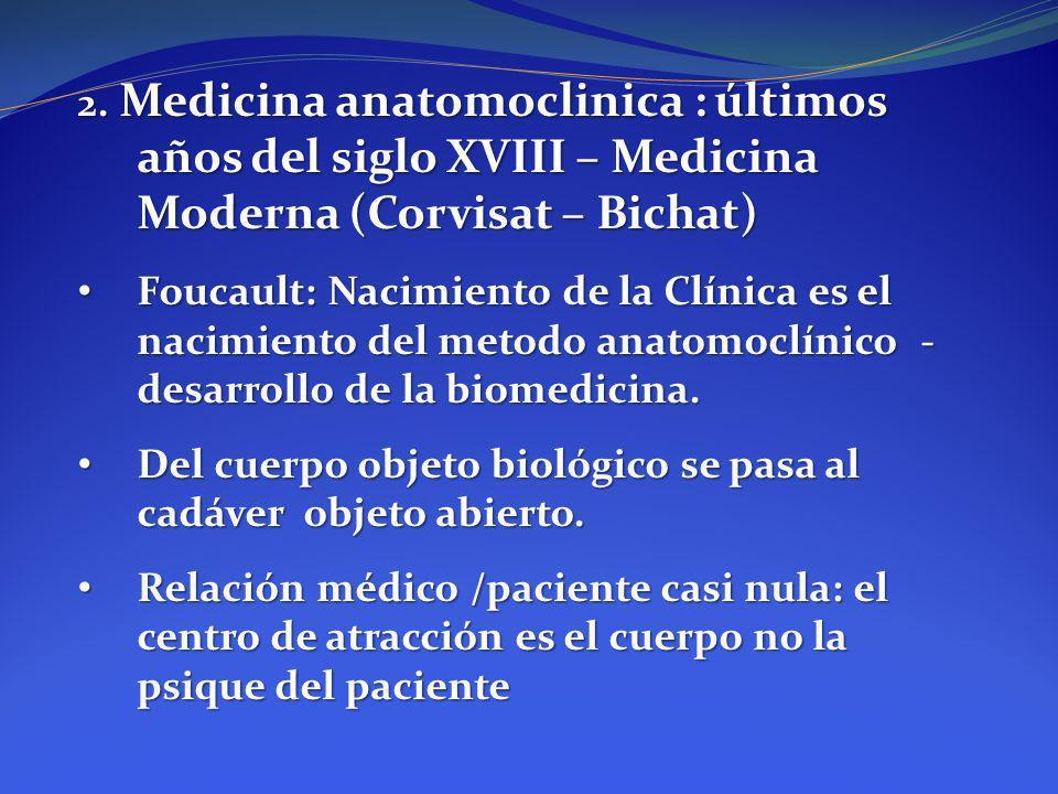 2. Medicina anatomoclinica : últimos años del siglo XVIII – Medicina Moderna (Corvisat – Bichat)