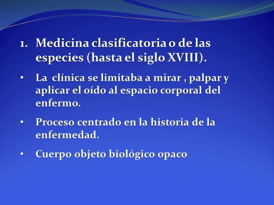 Medicina clasificatoria o de las especies (hasta el siglo XVIII).