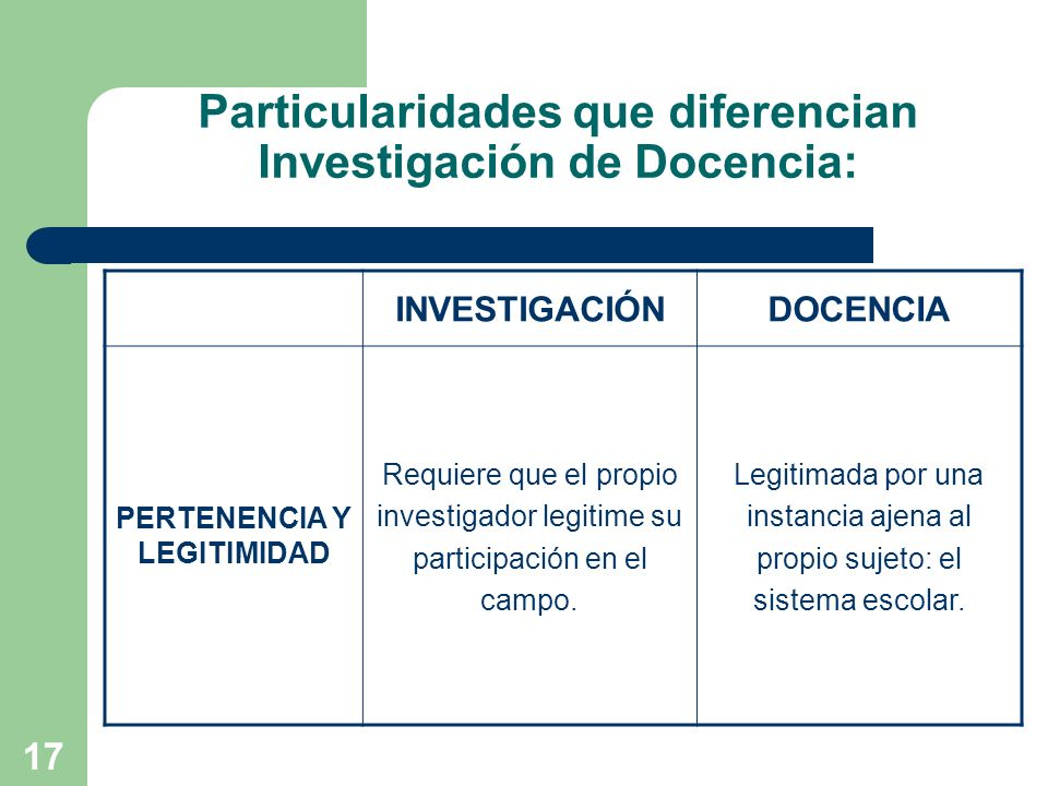 Particularidades que diferencian Investigación de Docencia: