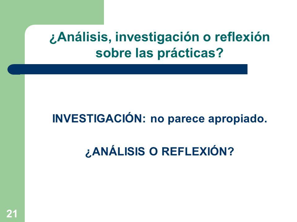 ¿Análisis, investigación o reflexión sobre las prácticas