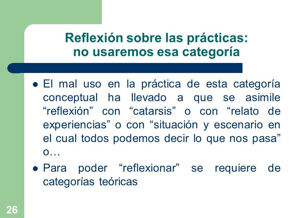 Reflexión sobre las prácticas: no usaremos esa categoría