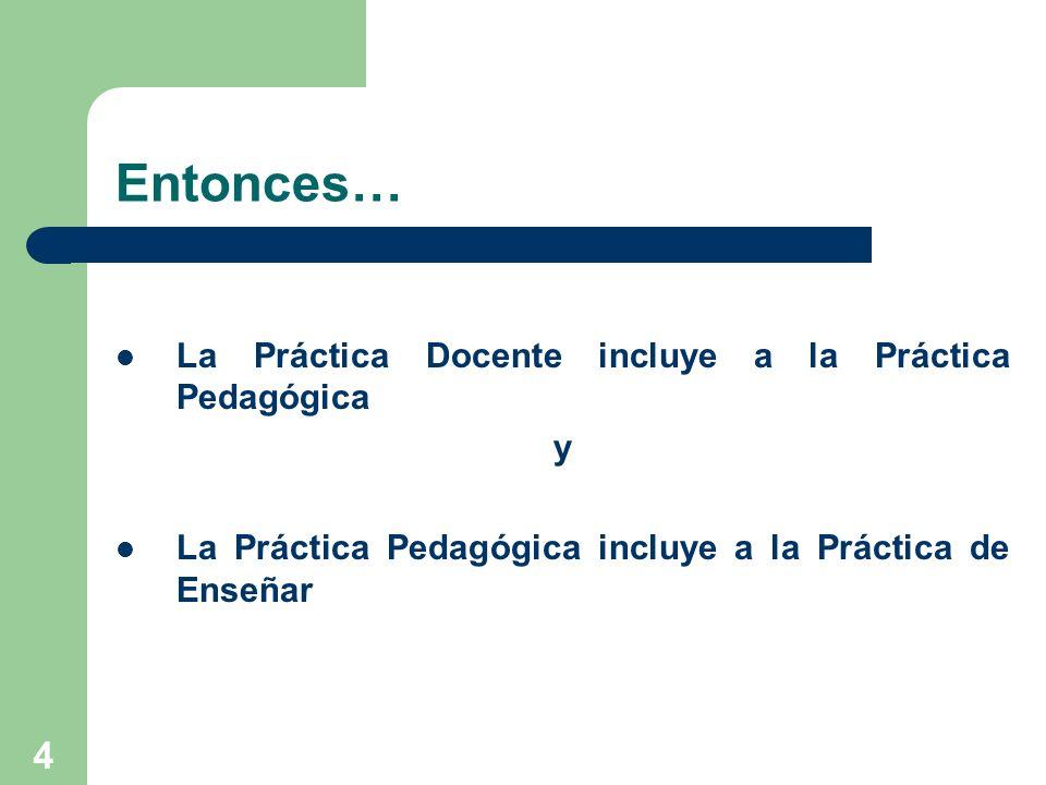 Entonces… La Práctica Docente incluye a la Práctica Pedagógica y