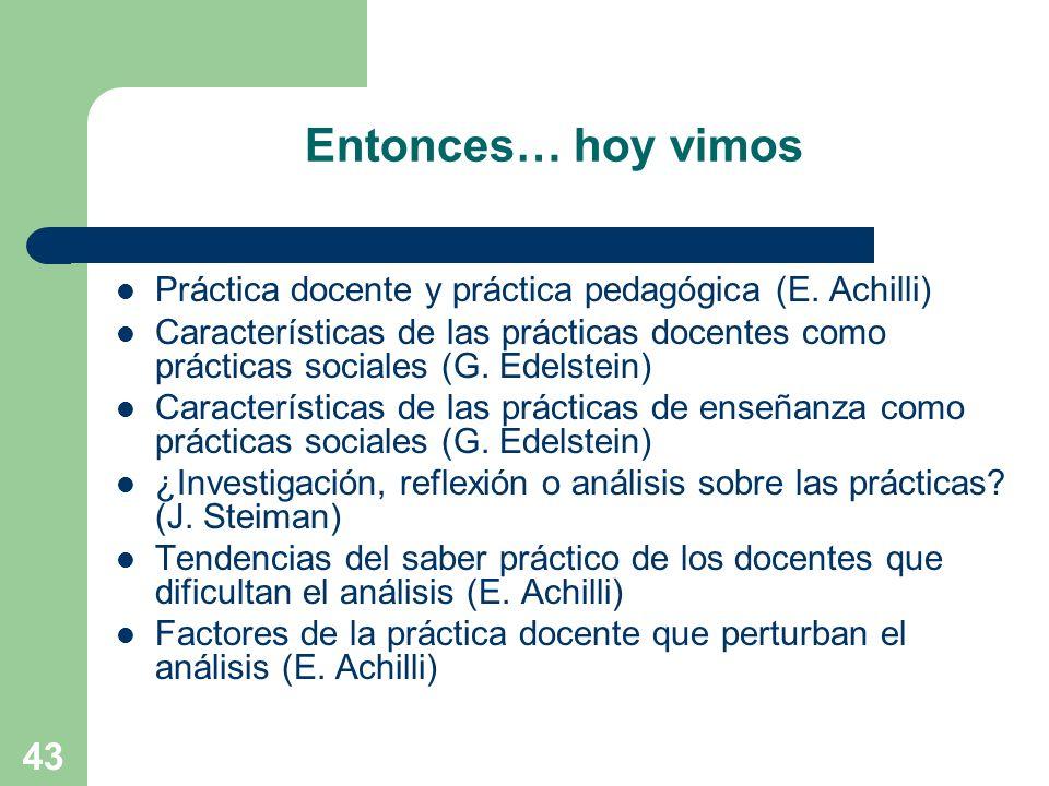 Entonces… hoy vimosPráctica docente y práctica pedagógica (E. Achilli)