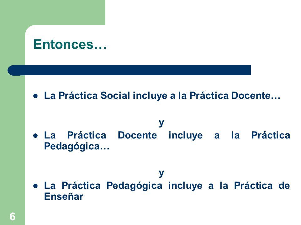 Entonces… La Práctica Social incluye a la Práctica Docente… y