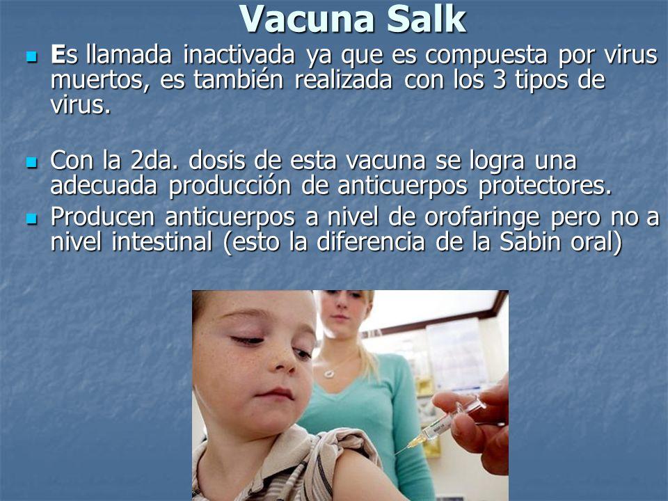 Vacuna Salk Es llamada inactivada ya que es compuesta por virus muertos, es también realizada con los 3 tipos de virus.