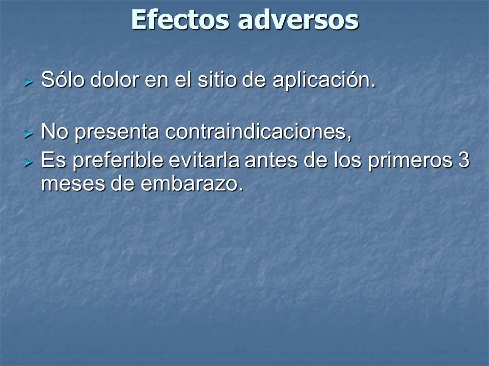 Efectos adversos Sólo dolor en el sitio de aplicación.