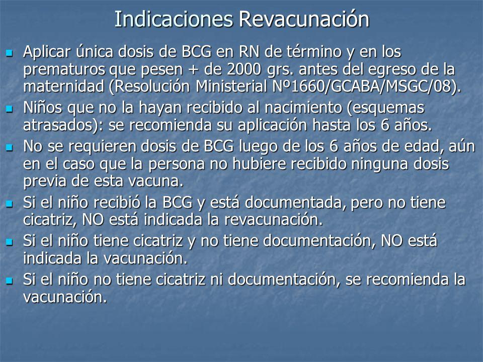 Indicaciones Revacunación