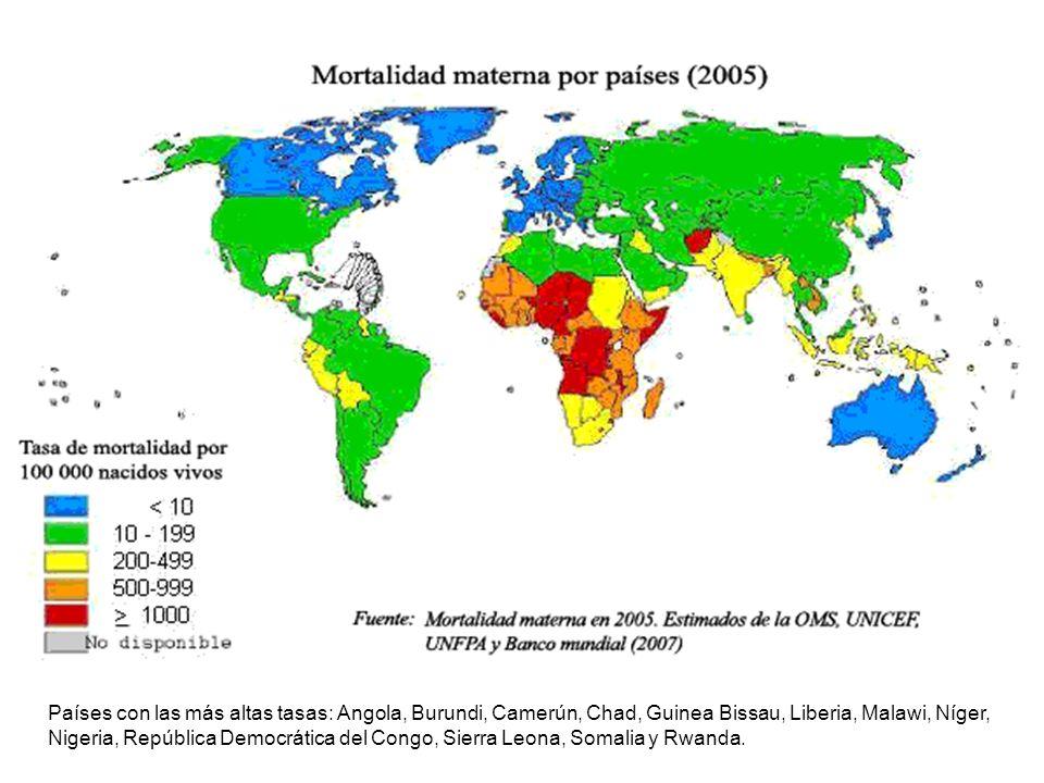 Países con las más altas tasas: Angola, Burundi, Camerún, Chad, Guinea Bissau, Liberia, Malawi, Níger, Nigeria, República Democrática del Congo, Sierra Leona, Somalia y Rwanda.