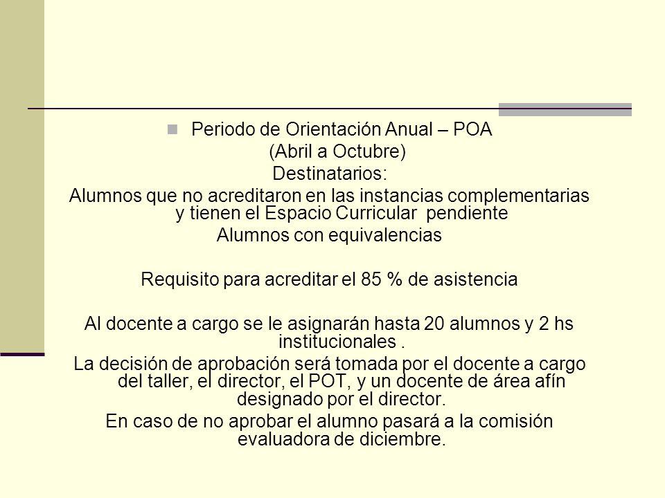 Periodo de Orientación Anual – POA (Abril a Octubre) Destinatarios: