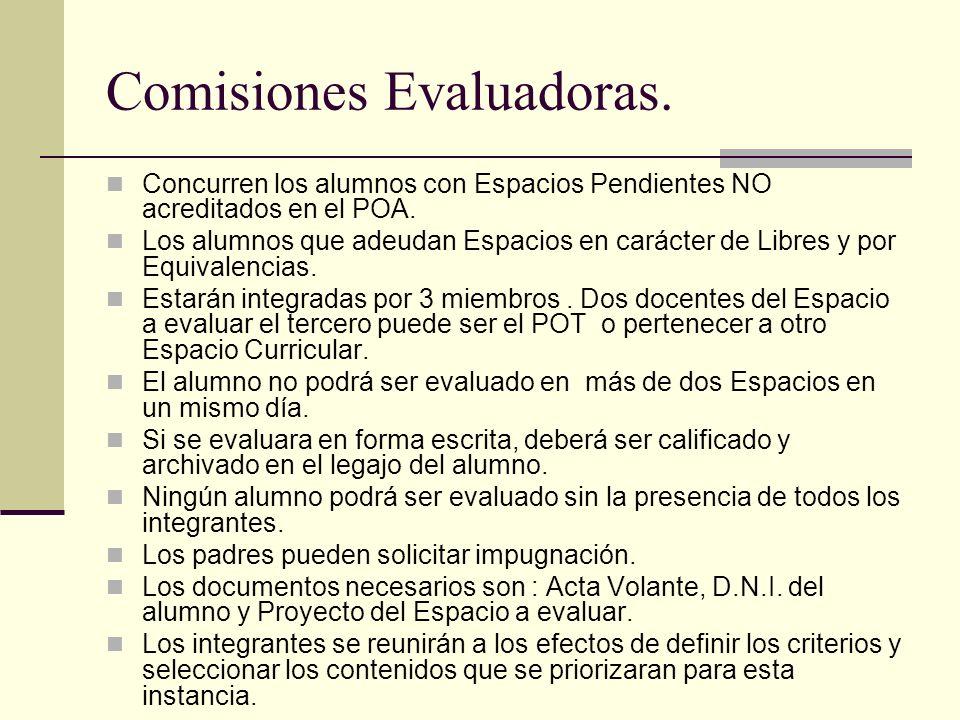 Comisiones Evaluadoras.