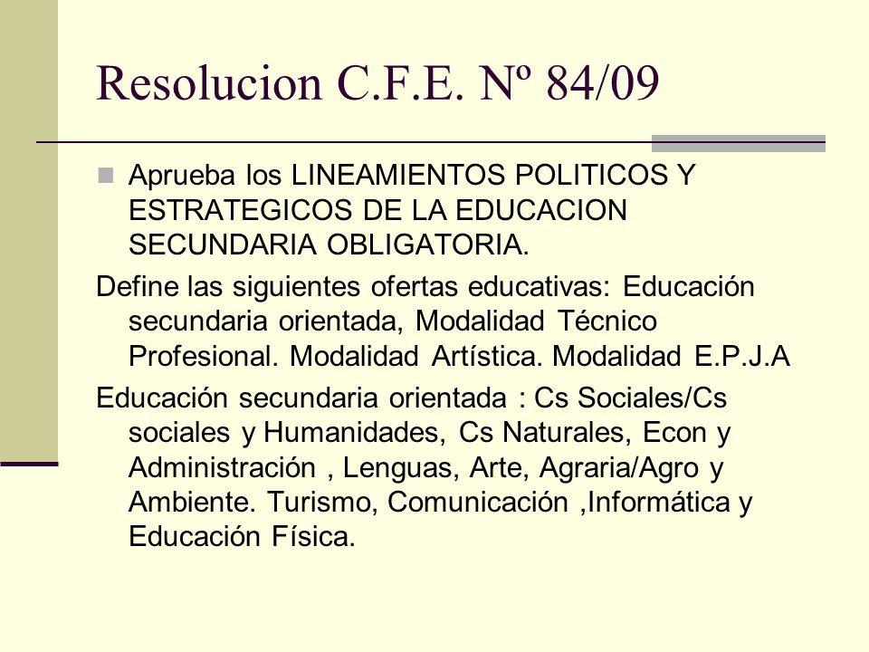 Resolucion C.F.E. Nº 84/09 Aprueba los LINEAMIENTOS POLITICOS Y ESTRATEGICOS DE LA EDUCACION SECUNDARIA OBLIGATORIA.