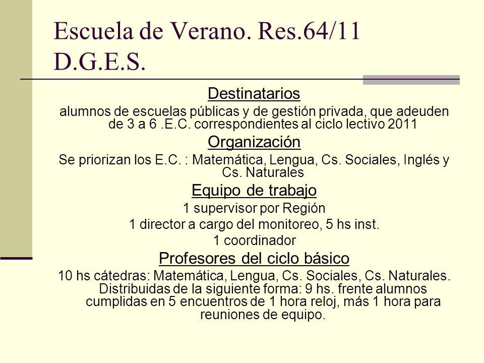 Escuela de Verano. Res.64/11 D.G.E.S.