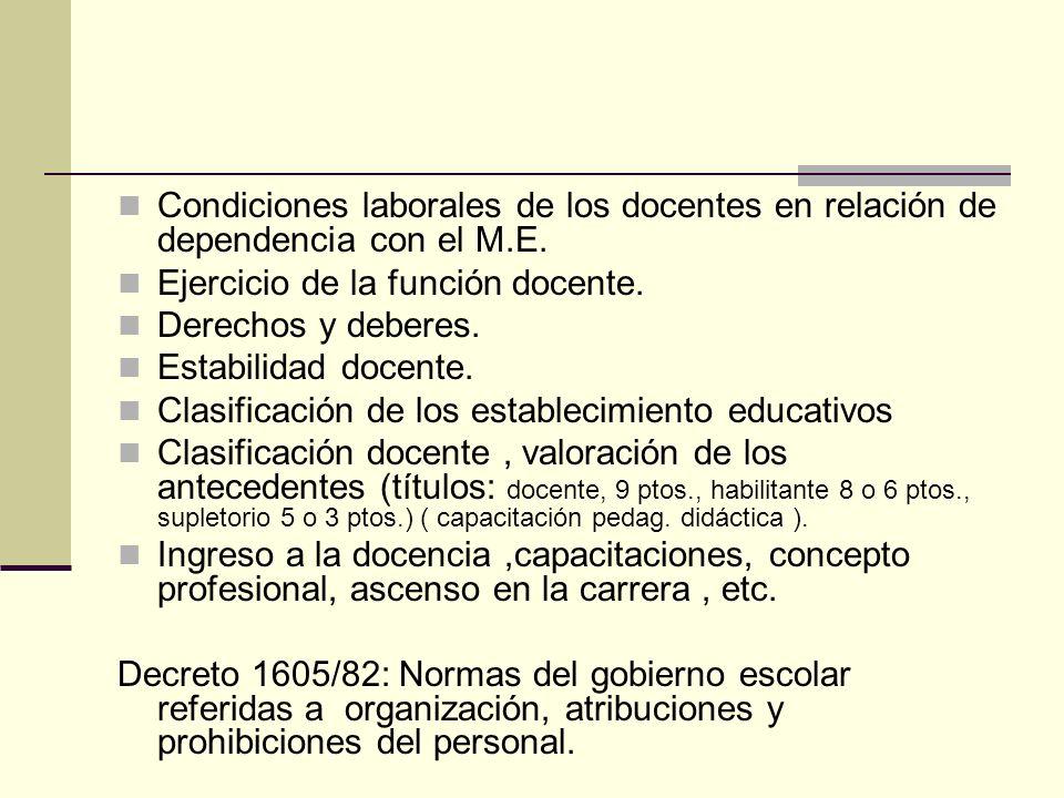 Condiciones laborales de los docentes en relación de dependencia con el M.E.
