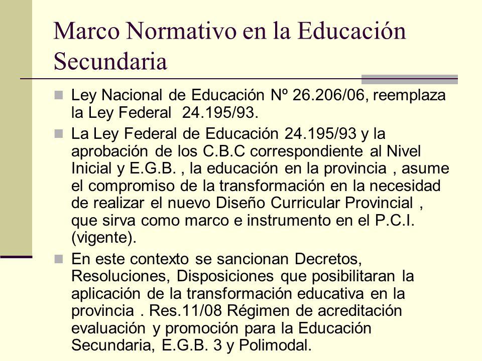 Marco Normativo en la Educación Secundaria