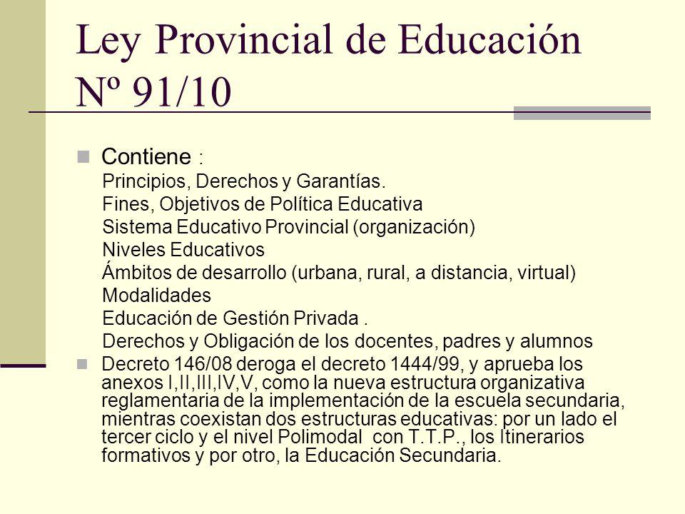Ley Provincial de Educación Nº 91/10