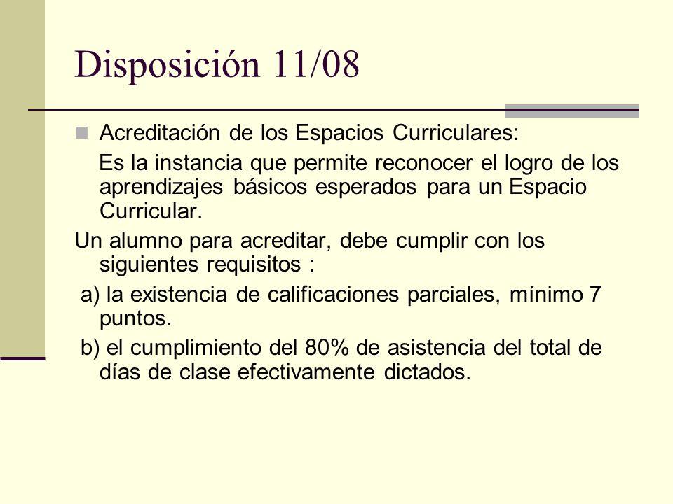 Disposición 11/08 Acreditación de los Espacios Curriculares: