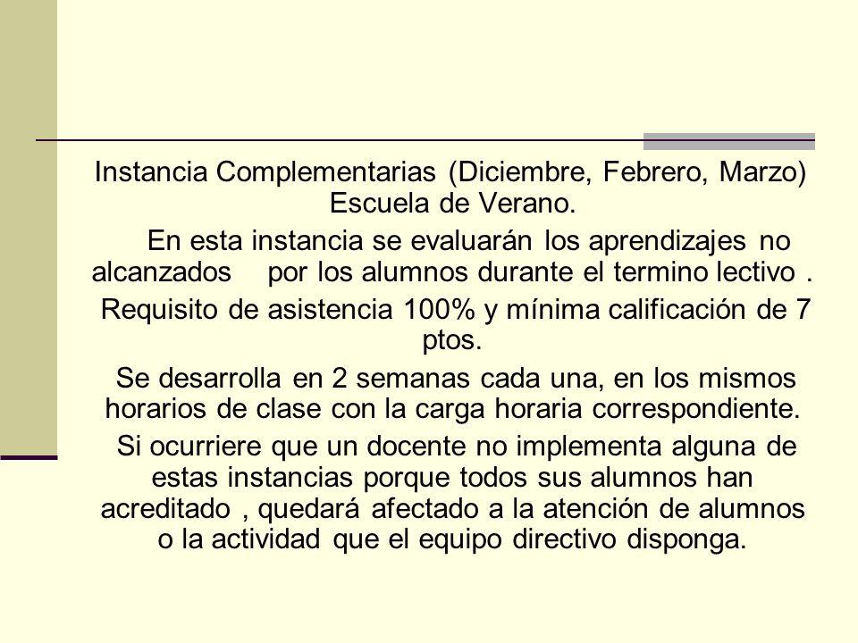 Requisito de asistencia 100% y mínima calificación de 7 ptos.