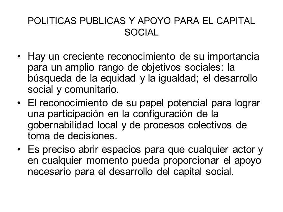 POLITICAS PUBLICAS Y APOYO PARA EL CAPITAL SOCIAL