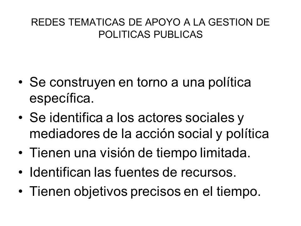 REDES TEMATICAS DE APOYO A LA GESTION DE POLITICAS PUBLICAS