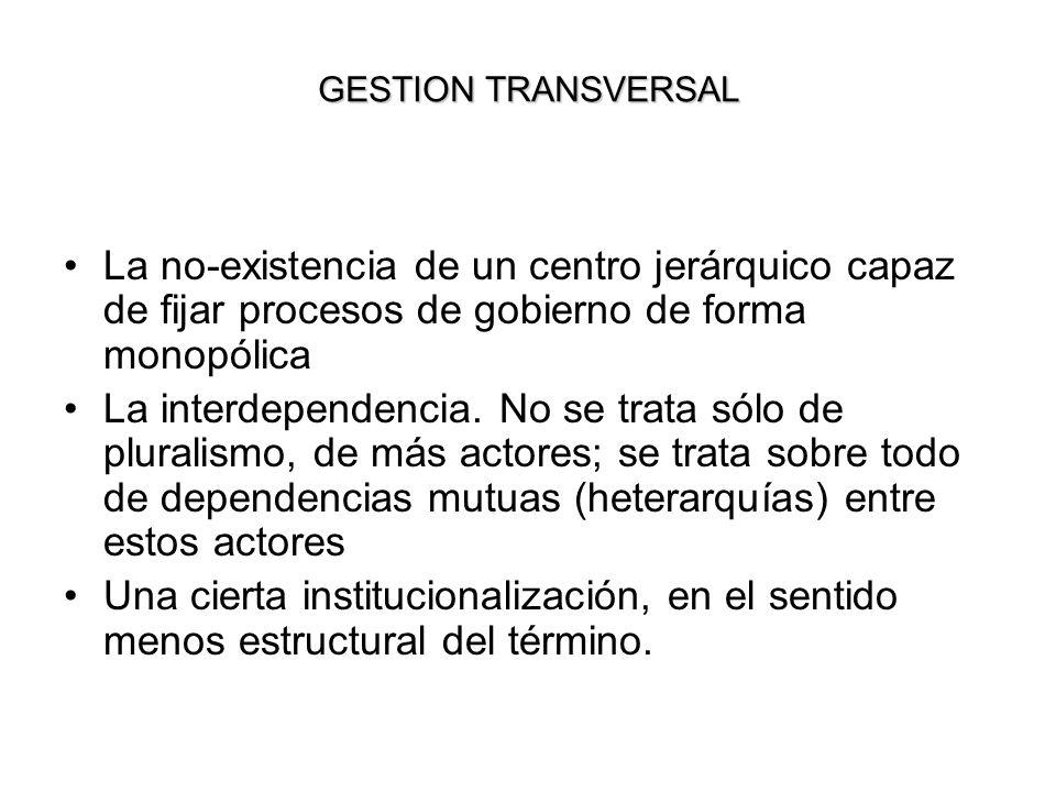 GESTION TRANSVERSAL La no-existencia de un centro jerárquico capaz de fijar procesos de gobierno de forma monopólica.
