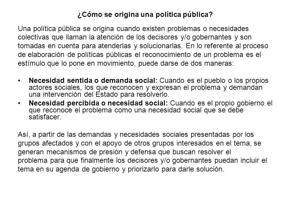 ¿Cómo se origina una política pública