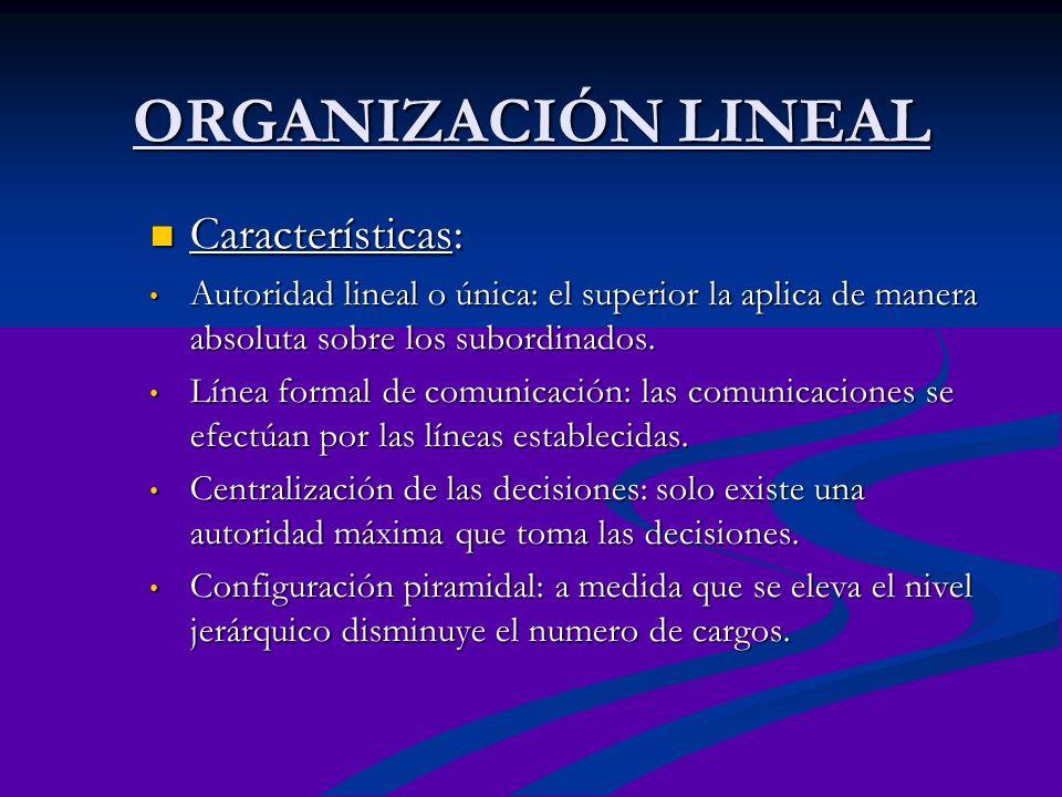 ORGANIZACIÓN LINEAL Características: