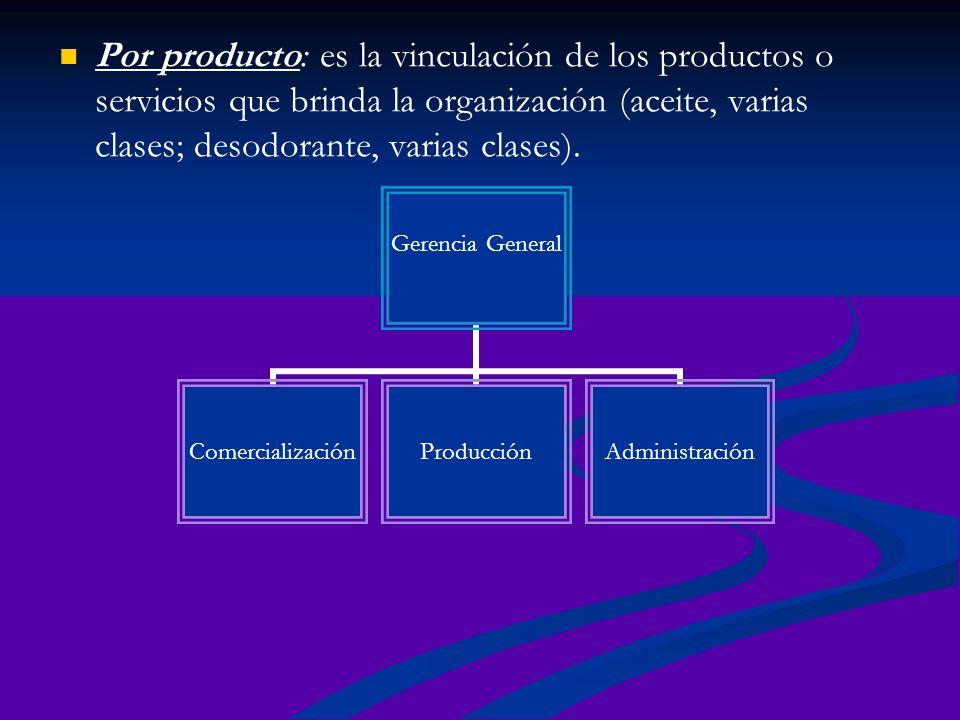 Por producto: es la vinculación de los productos o servicios que brinda la organización (aceite, varias clases; desodorante, varias clases).