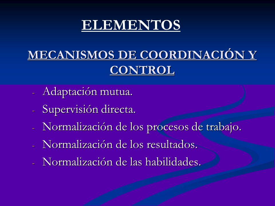 MECANISMOS DE COORDINACIÓN Y CONTROL