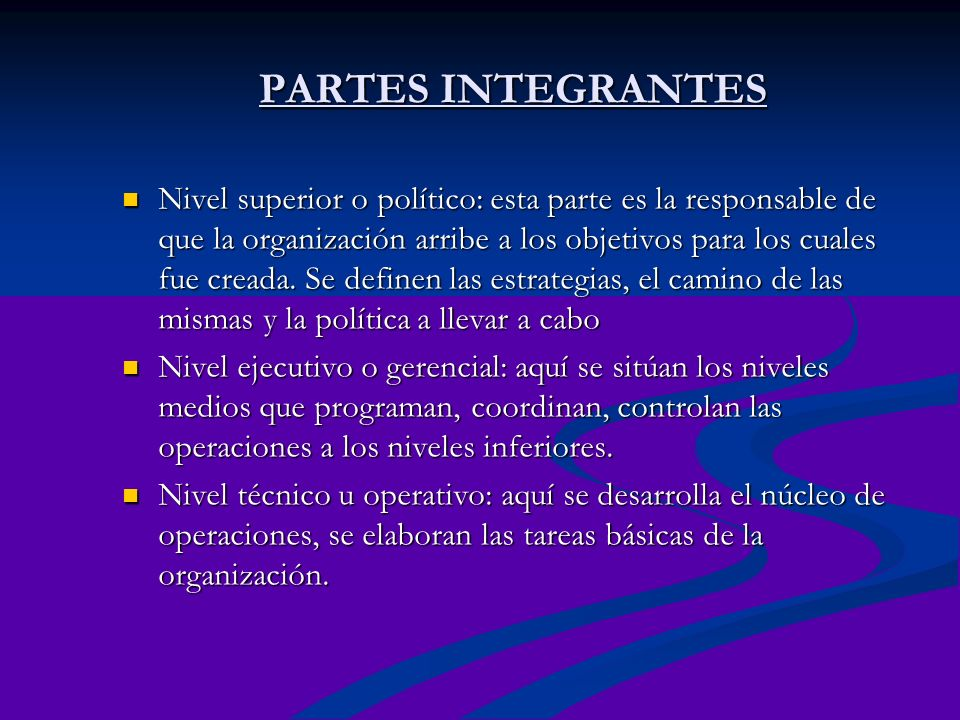 PARTES INTEGRANTES