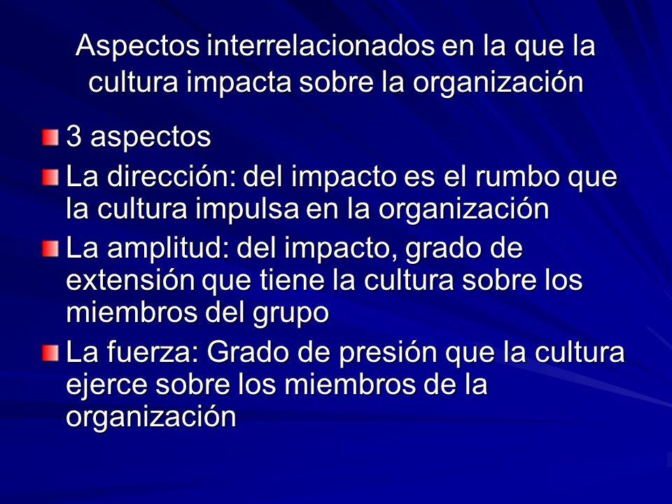 Aspectos interrelacionados en la que la cultura impacta sobre la organización