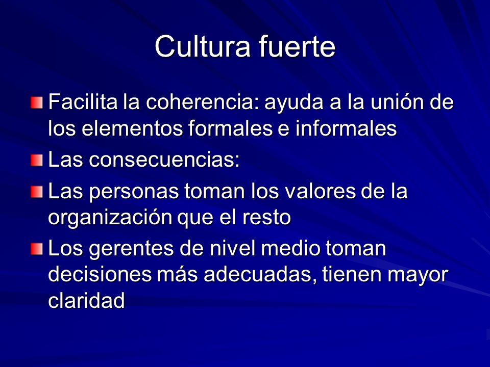 Cultura fuerte Facilita la coherencia: ayuda a la unión de los elementos formales e informales. Las consecuencias:
