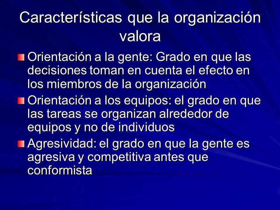 Características que la organización valora