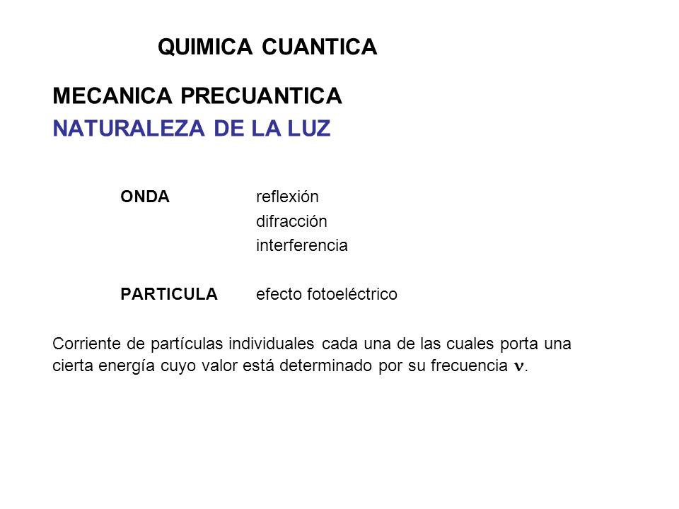 QUIMICA CUANTICA MECANICA PRECUANTICA NATURALEZA DE LA LUZ