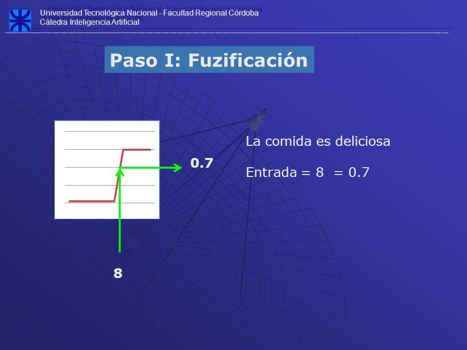 Paso I: Fuzificación La comida es deliciosa Entrada = 8 = 0.7 0.7 8