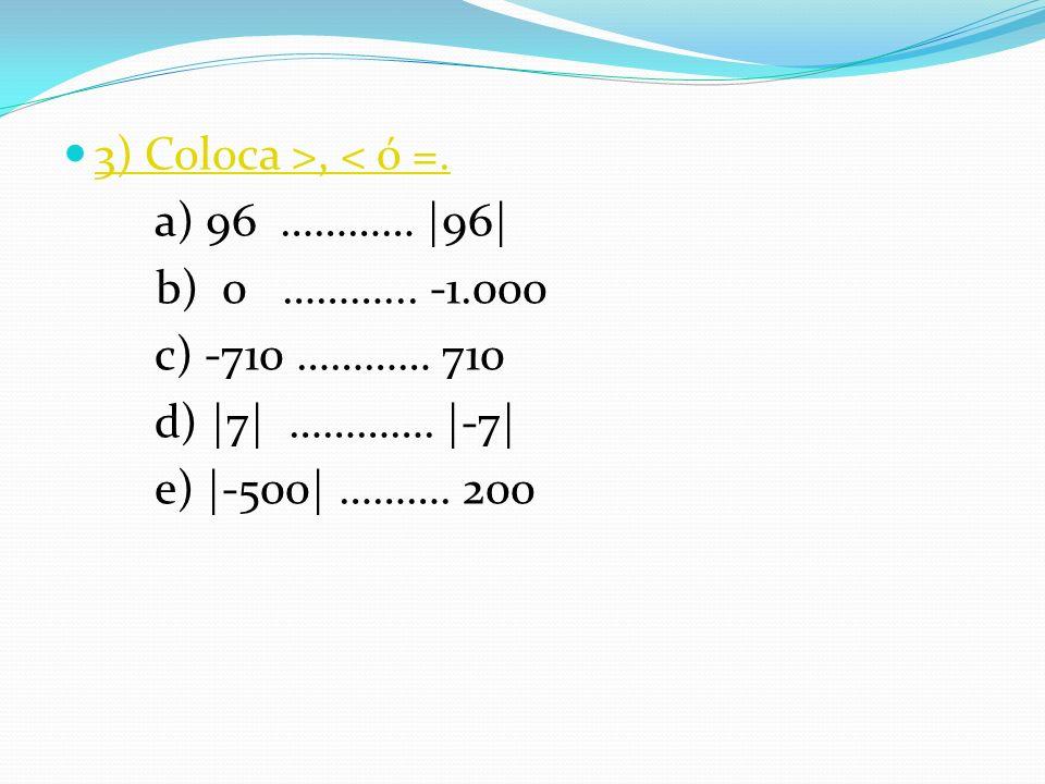 3) Coloca >, < ó =. a) 96 ………… |96| b) 0 ………... -1.000. c) -710 ………… 710. d) |7| …………. |-7|