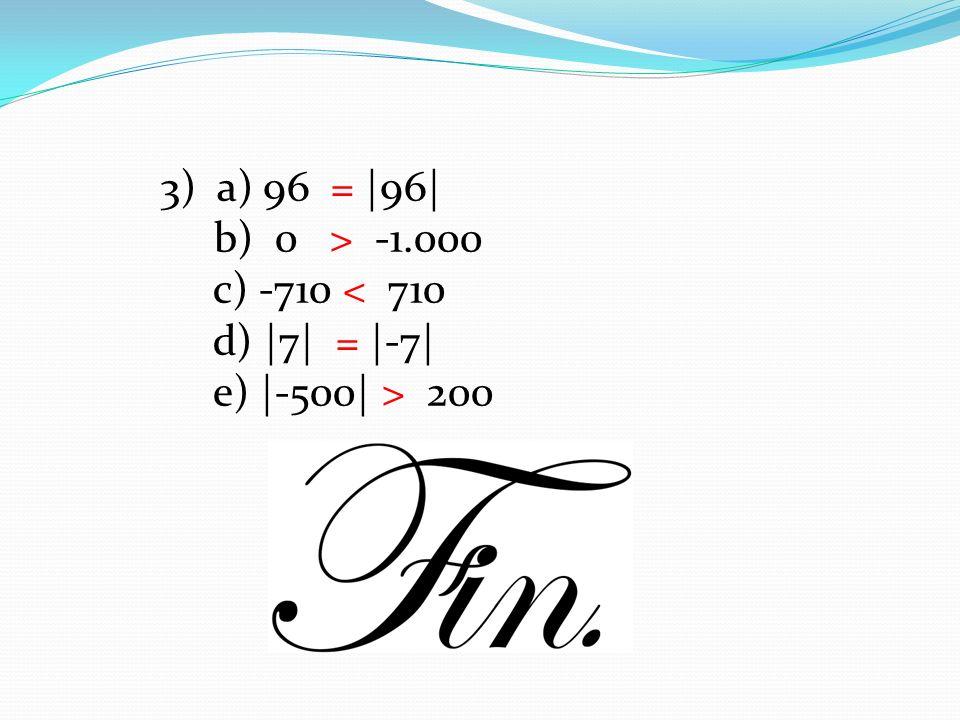 3) a) 96 = |96| b) 0 > -1.000 c) -710 < 710 d) |7| = |-7| e) |-500| > 200