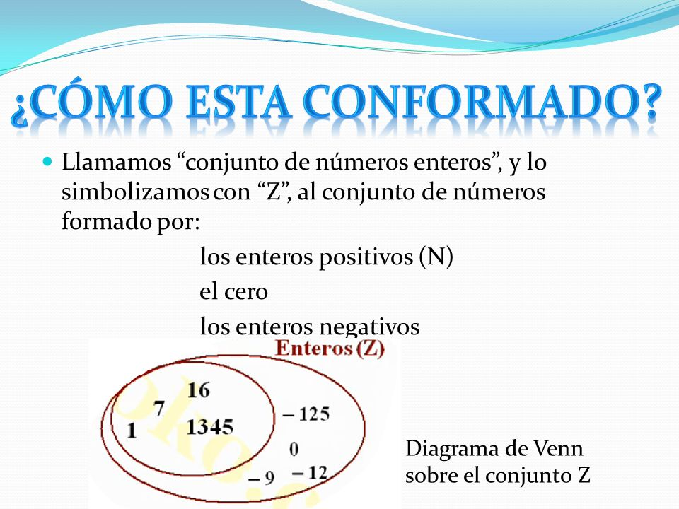 ¿Cómo esta conformado Llamamos conjunto de números enteros , y lo simbolizamos con Z , al conjunto de números formado por: