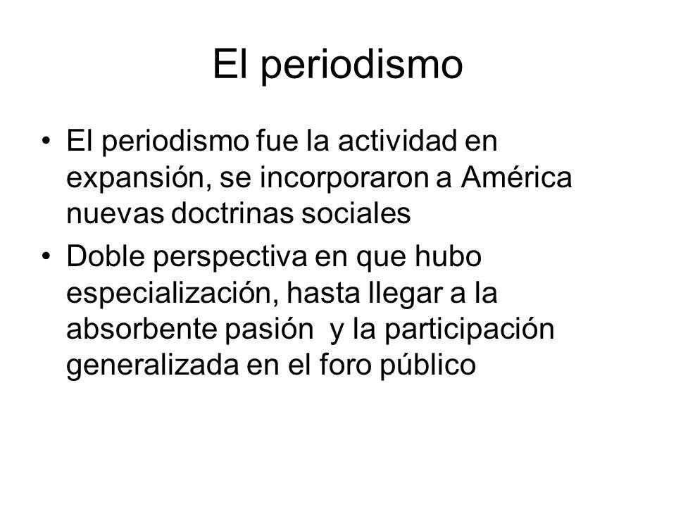 El periodismo El periodismo fue la actividad en expansión, se incorporaron a América nuevas doctrinas sociales.