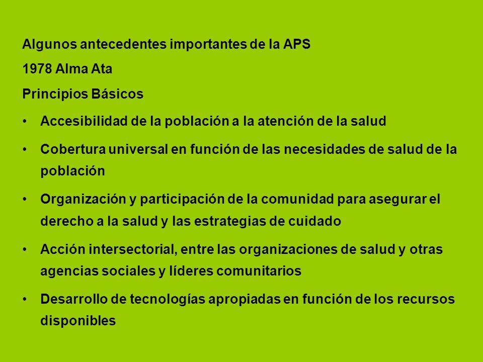 Algunos antecedentes importantes de la APS