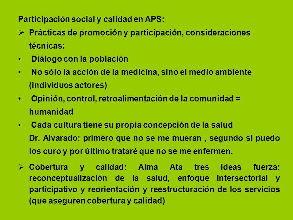 Participación social y calidad en APS: