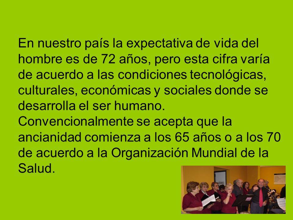 En nuestro país la expectativa de vida del hombre es de 72 años, pero esta cifra varía de acuerdo a las condiciones tecnológicas, culturales, económicas y sociales donde se desarrolla el ser humano.