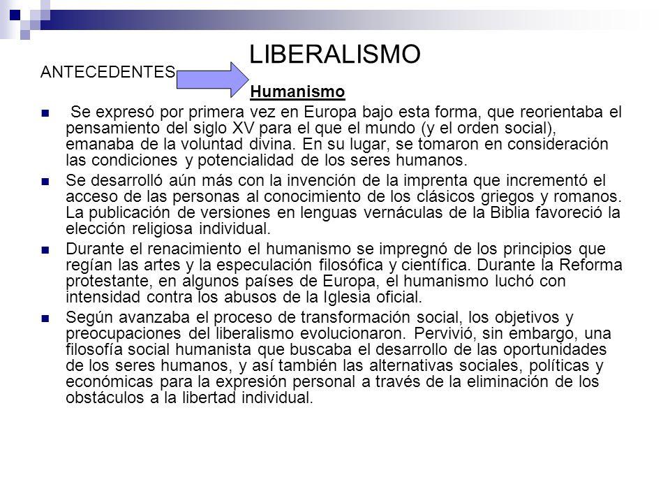 LIBERALISMO ANTECEDENTES Humanismo
