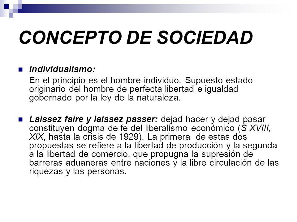 CONCEPTO DE SOCIEDAD Individualismo: