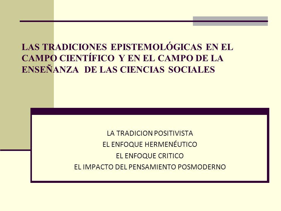 LAS TRADICIONES EPISTEMOLÓGICAS EN EL CAMPO CIENTÍFICO Y EN EL CAMPO DE LA ENSEÑANZA DE LAS CIENCIAS SOCIALES