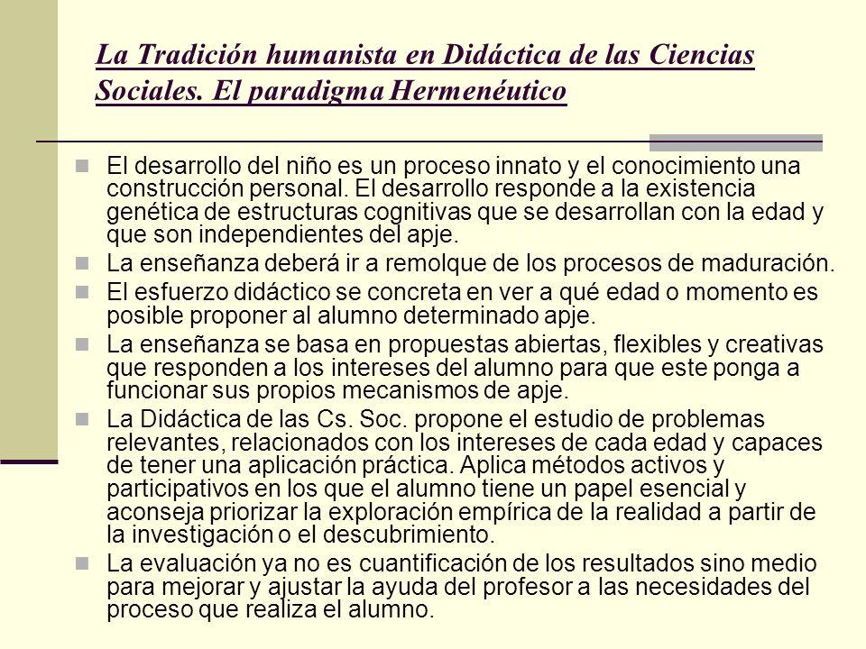 La Tradición humanista en Didáctica de las Ciencias Sociales