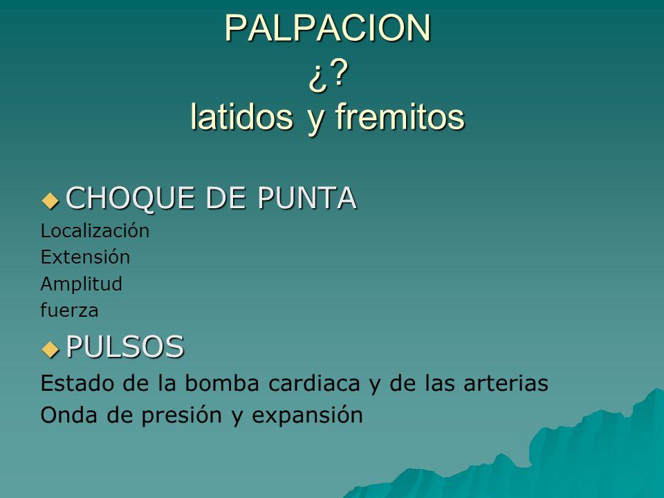 PALPACION ¿ latidos y fremitos