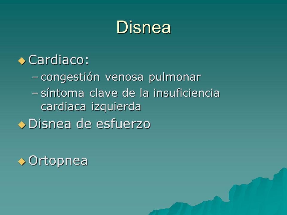 Disnea Cardiaco: Disnea de esfuerzo Ortopnea