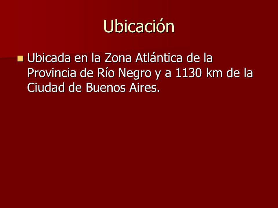 Ubicación Ubicada en la Zona Atlántica de la Provincia de Río Negro y a 1130 km de la Ciudad de Buenos Aires.