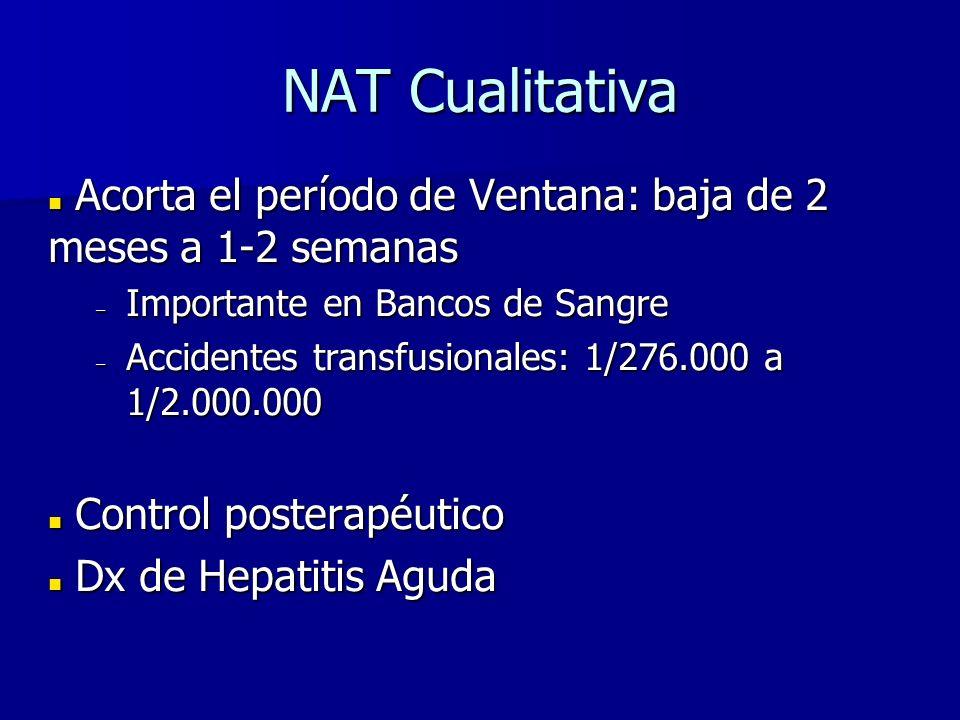 NAT Cualitativa Acorta el período de Ventana: baja de 2 meses a 1-2 semanas. Importante en Bancos de Sangre.