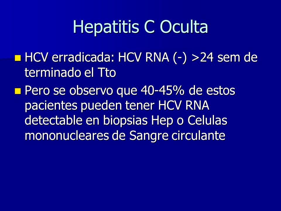 Hepatitis C Oculta HCV erradicada: HCV RNA (-) >24 sem de terminado el Tto.